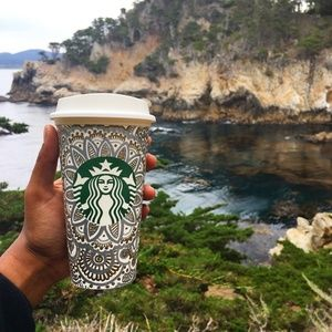 Silver and Gold Starbucks Reusable Cup